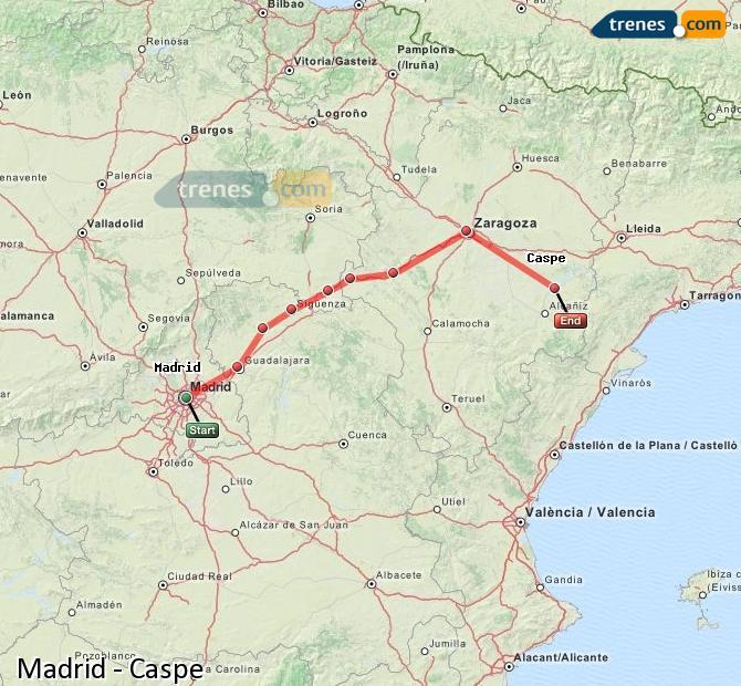 Karte vergrößern Züge Madrid Caspe
