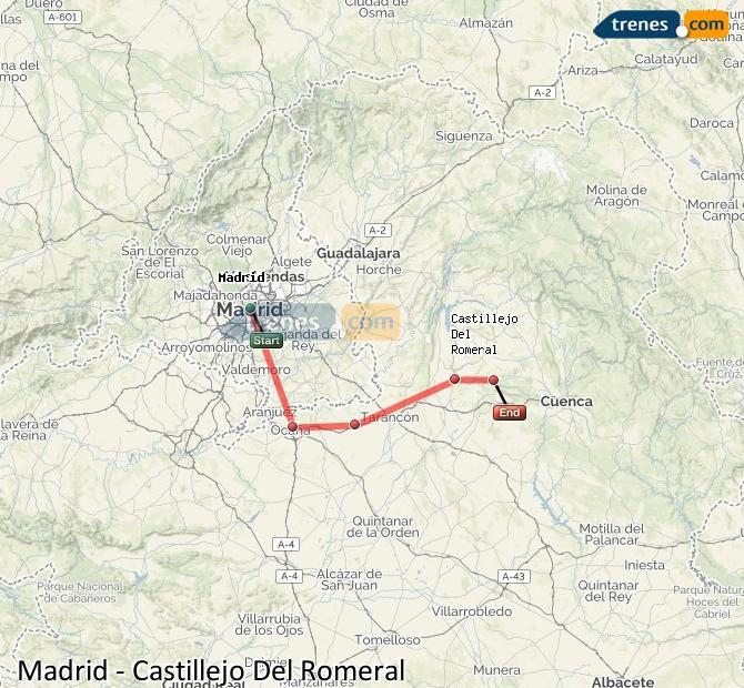 Karte vergrößern Züge Madrid Castillejo Del Romeral