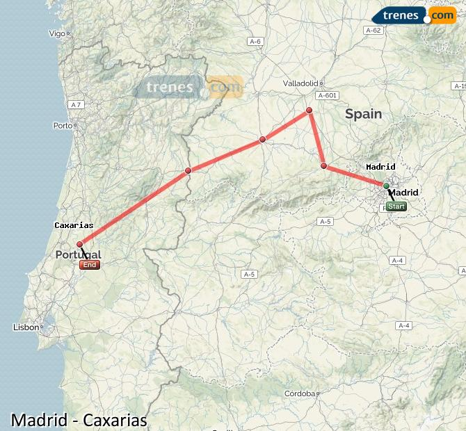 Ampliar mapa Trenes Madrid Caxarias