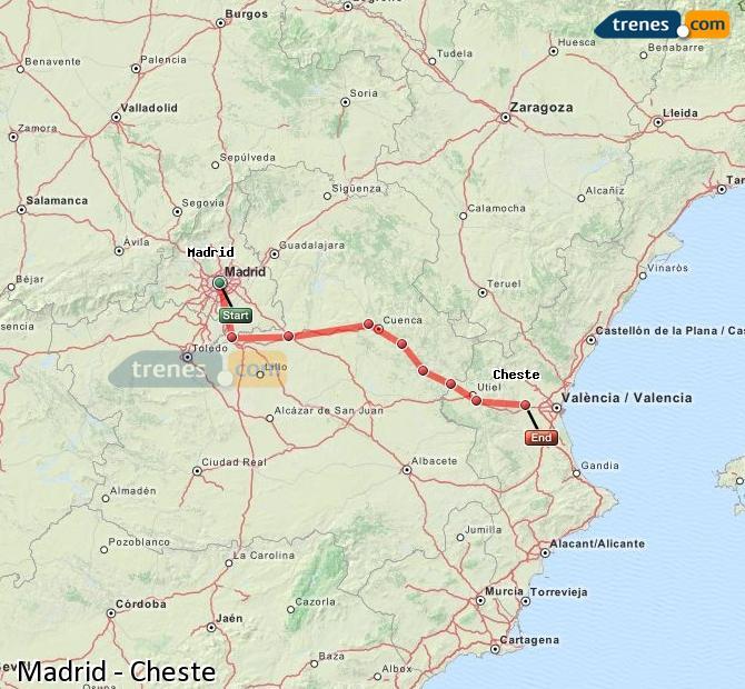 Karte vergrößern Züge Madrid Cheste