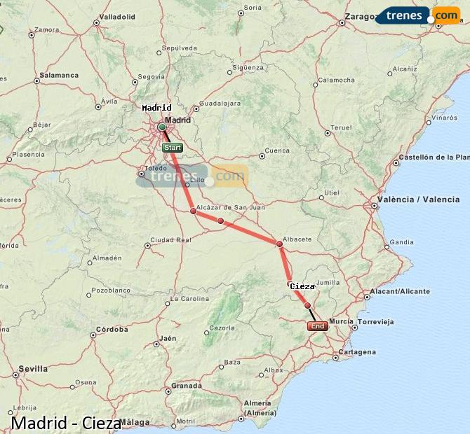 Agrandir la carte Trains Madrid Cieza