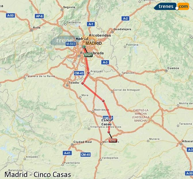 Agrandir la carte Trains Madrid Cinco Casas