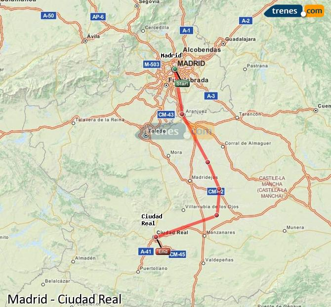 Agrandir la carte Trains Madrid Ciudad Real