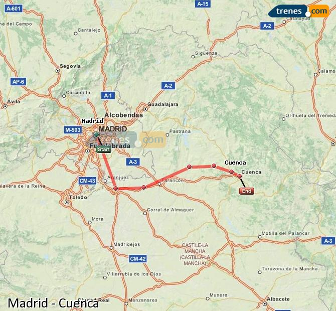 Enlarge map Trains Madrid to Cuenca