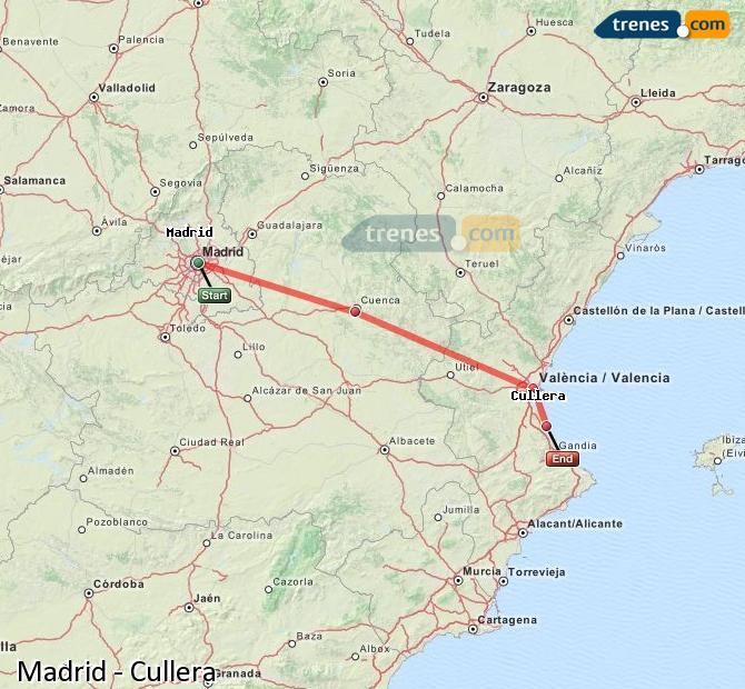 Ampliar mapa Trenes Madrid Cullera
