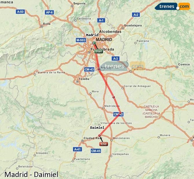 Karte vergrößern Züge Madrid Daimiel