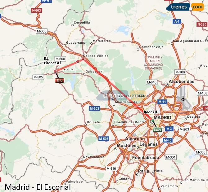 Ingrandisci la mappa Treni Madrid El Escorial