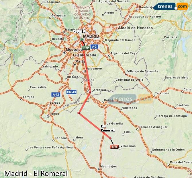 Enlarge map Trains Madrid to El Romeral