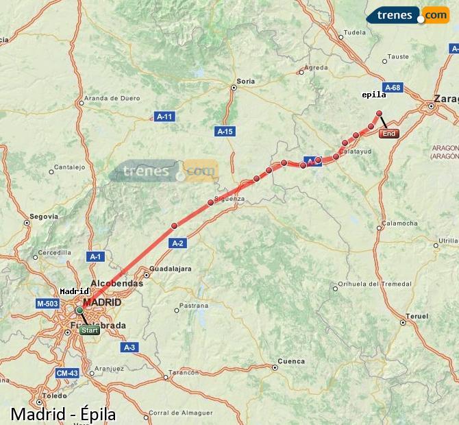 Enlarge map Trains Madrid to Epila