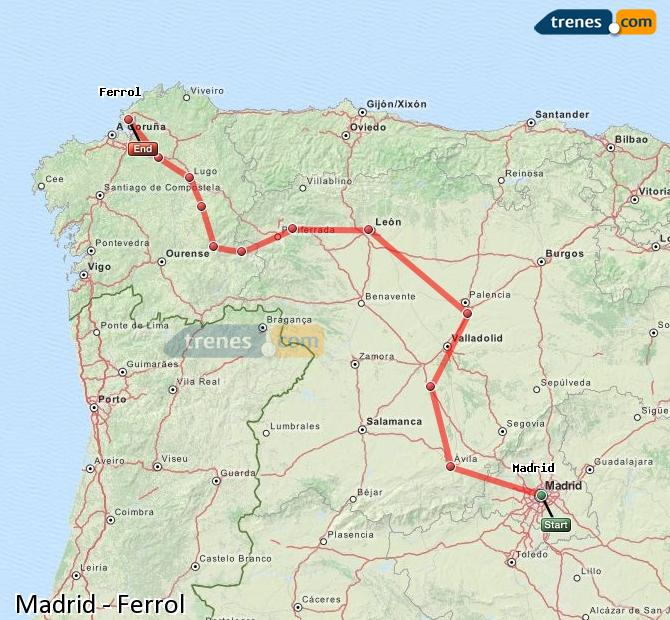 Enlarge map Trains Madrid to Ferrol