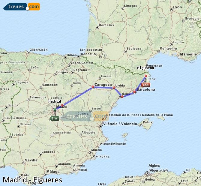 Enlarge map Trains Madrid to Figueres