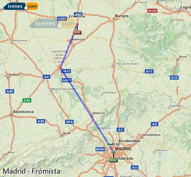 Enlarge map Trains Madrid to Frómista
