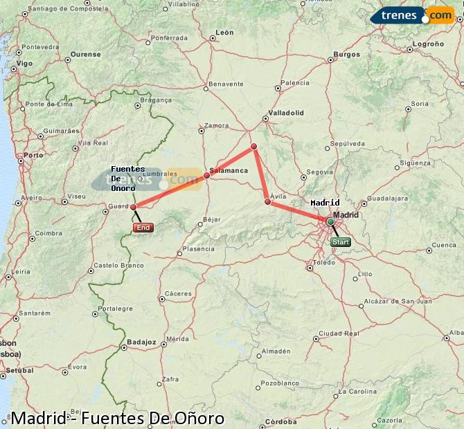 Enlarge map Trains Madrid to Fuentes De Oñoro
