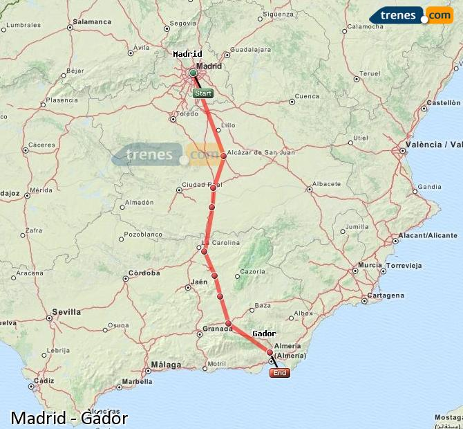 Enlarge map Trains Madrid to Gádor