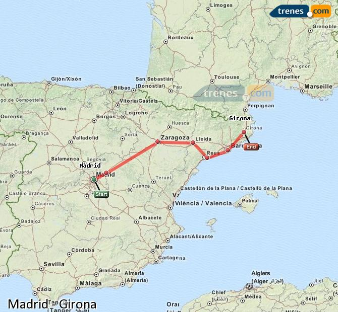 Enlarge map Trains Madrid to Girona