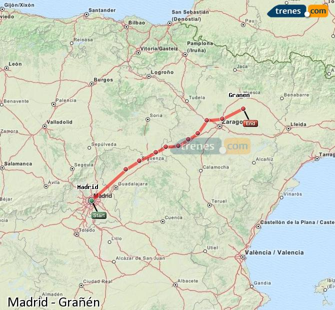 Enlarge map Trains Madrid to Grañén