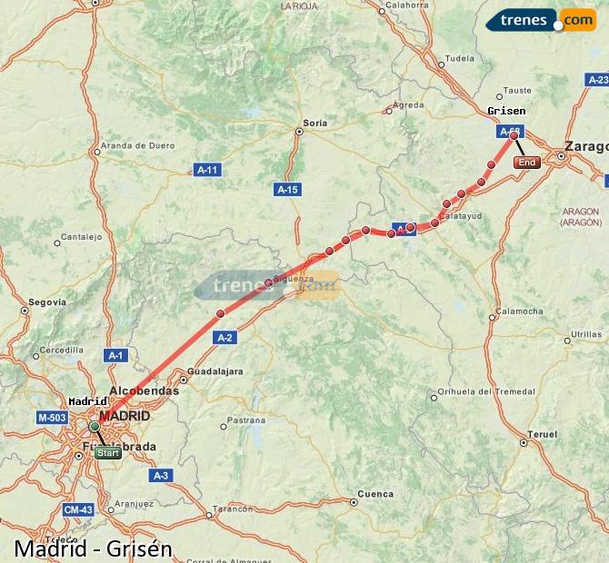 Karte vergrößern Züge Madrid Grisén