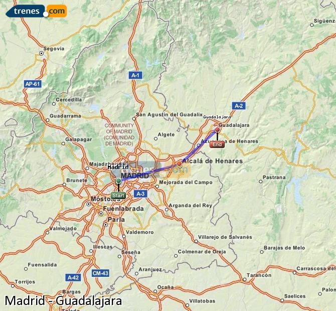 Agrandir la carte Trains Madrid Guadalajara
