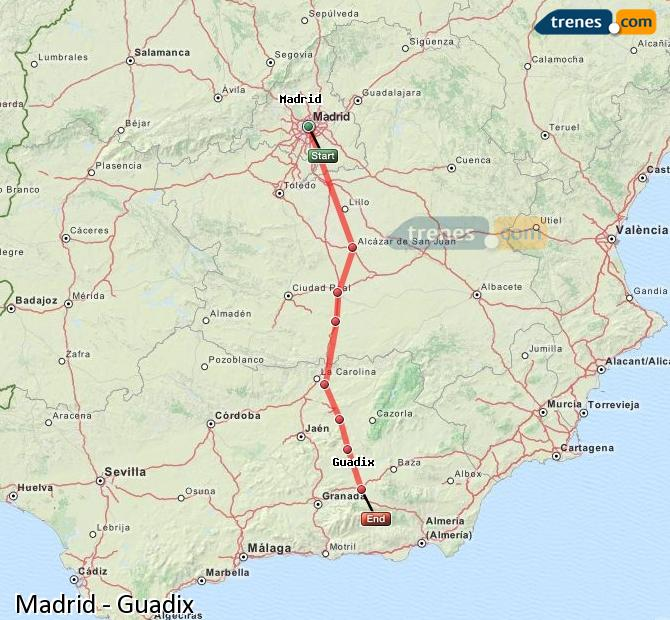 Enlarge map Trains Madrid to Guadix