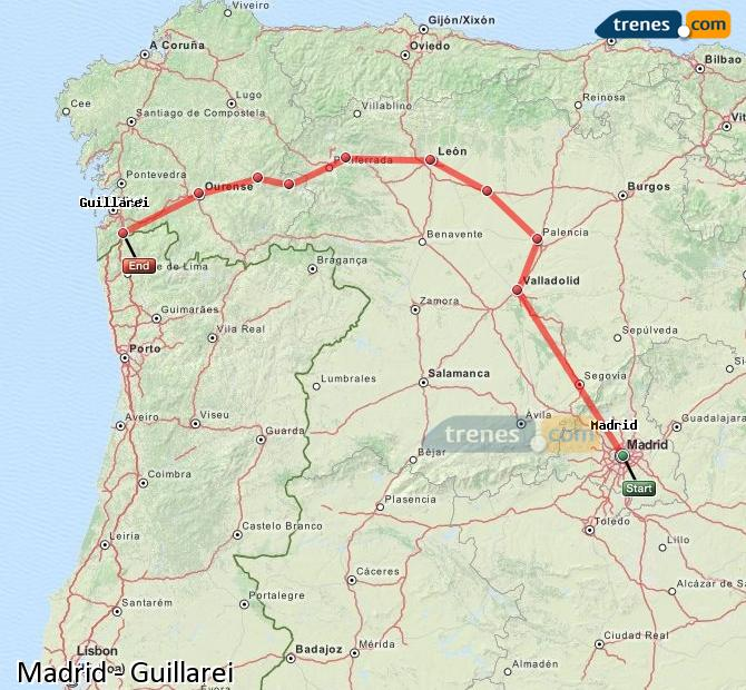 Agrandir la carte Trains Madrid Guillarei