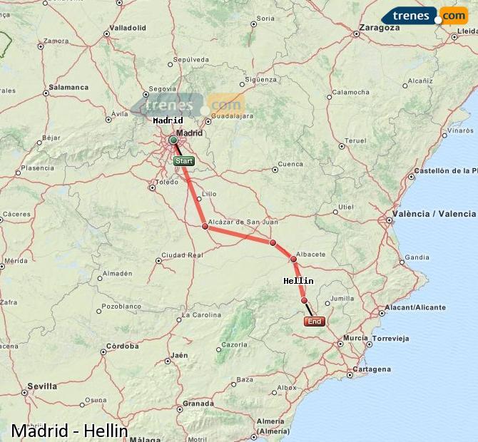 Ampliar mapa Comboios Madrid Hellín