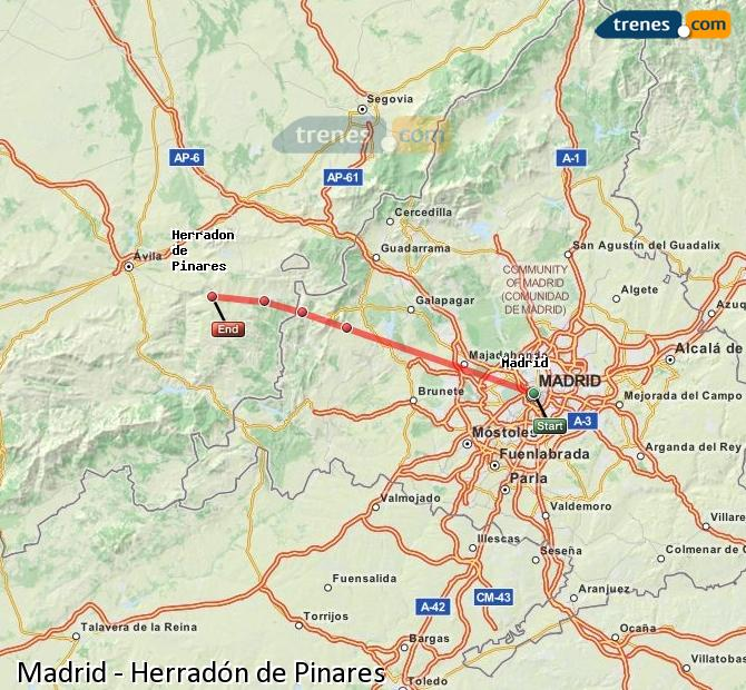 Karte vergrößern Züge Madrid Herradón de Pinares