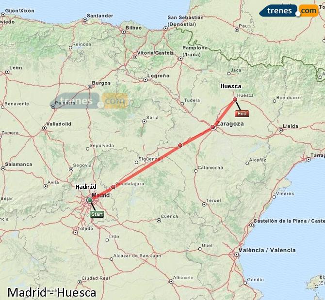 Ampliar mapa Trenes Madrid Huesca
