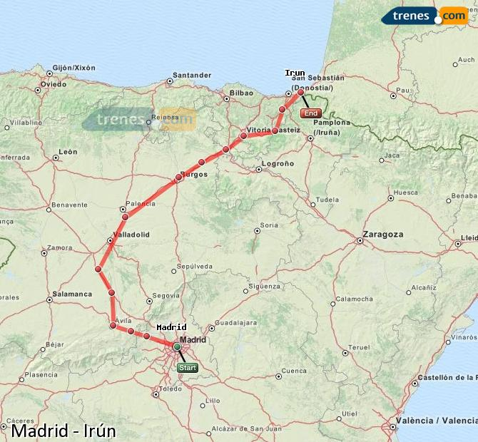 Enlarge map Trains Madrid to Irun