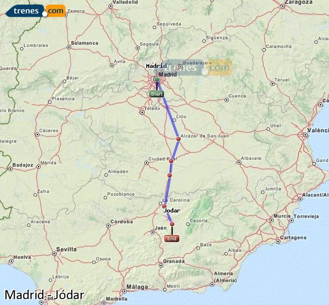 Agrandir la carte Trains Madrid Jódar
