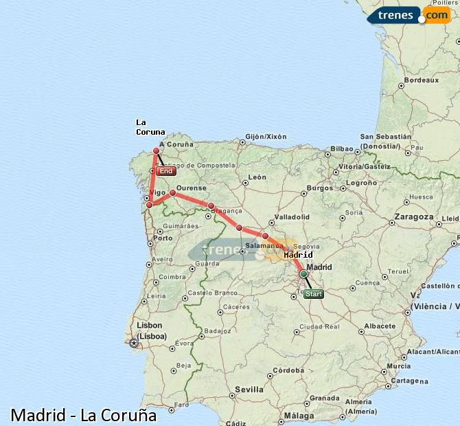 Enlarge map Trains Madrid to La Coruña