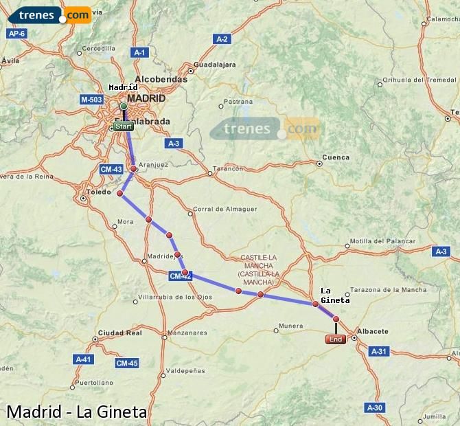 Enlarge map Trains Madrid to La Gineta