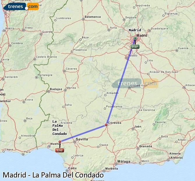 Enlarge map Trains Madrid to La Palma Del Condado