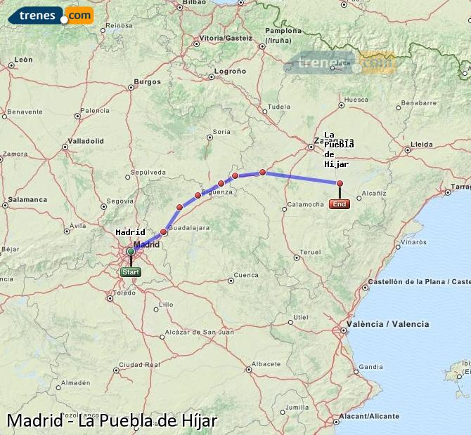 Enlarge map Trains Madrid to La Puebla de Híjar
