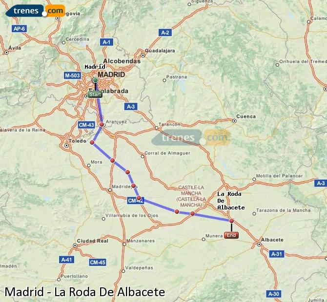 Ingrandisci la mappa Treni Madrid La Roda De Albacete