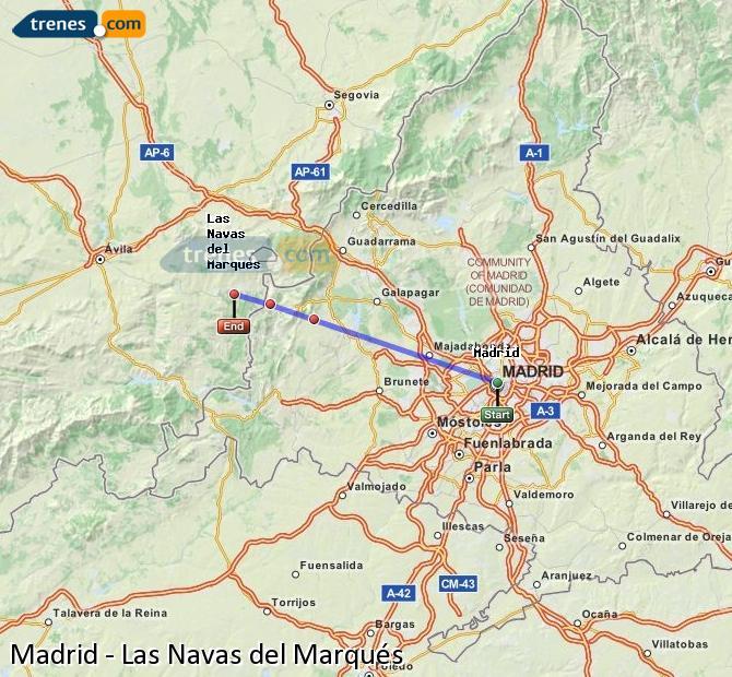 Karte vergrößern Züge Madrid Las Navas del Marqués