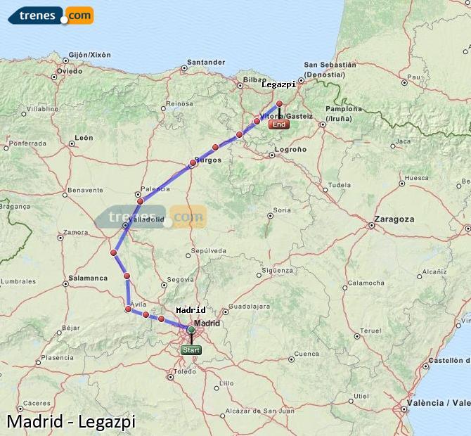 Karte vergrößern Züge Madrid Legazpi