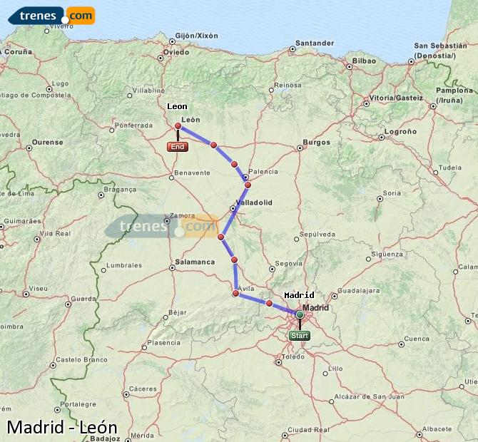 Enlarge map Trains Madrid to Lion