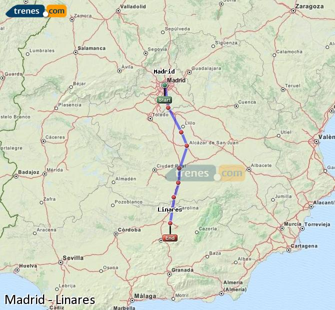 Enlarge map Trains Madrid to Linares