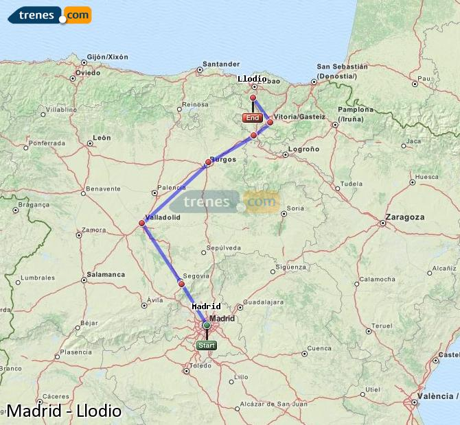 Ingrandisci la mappa Treni Madrid Llodio