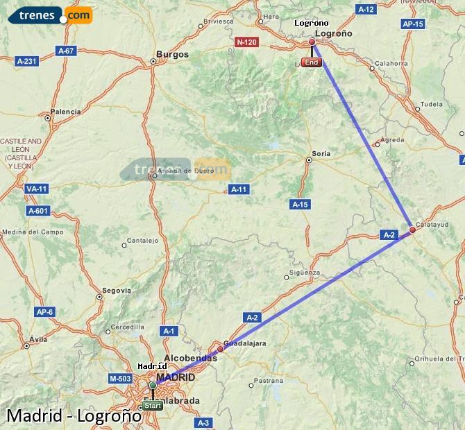Ampliar mapa Trenes Madrid Logroño