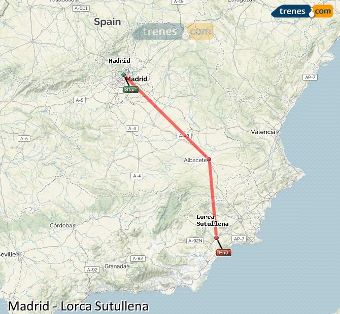 Karte vergrößern Züge Madrid Lorca Sutullena