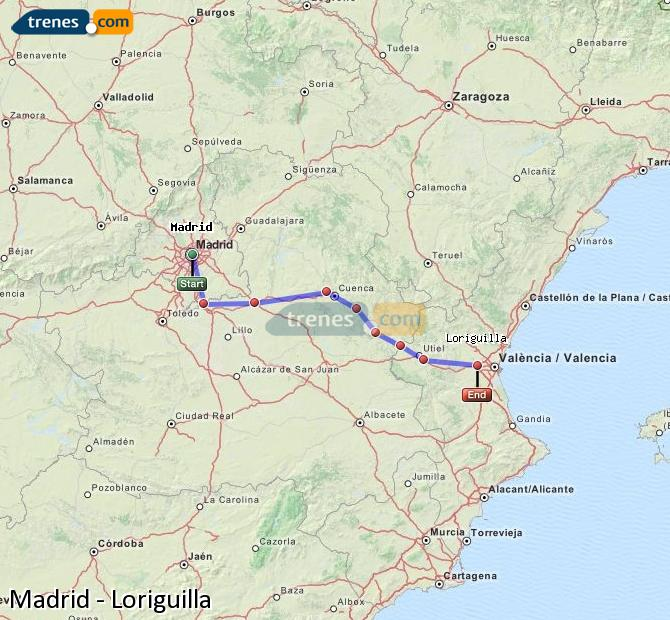 Enlarge map Trains Madrid to Loriguilla