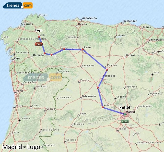 Enlarge map Trains Madrid to Lugo