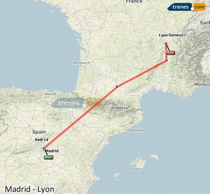 Agrandir la carte Trains Madrid Lyon