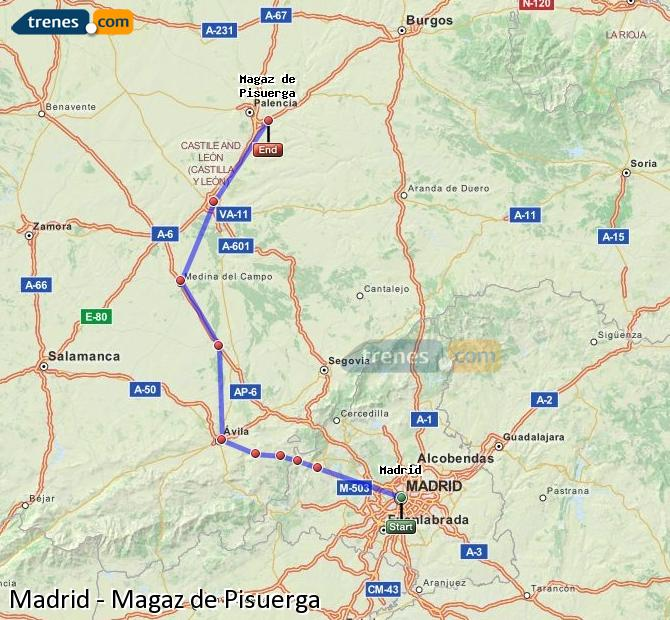 Enlarge map Trains Madrid to Magaz de Pisuerga