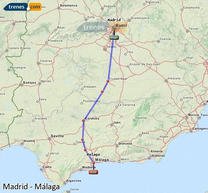 Enlarge map Trains Madrid to Malaga