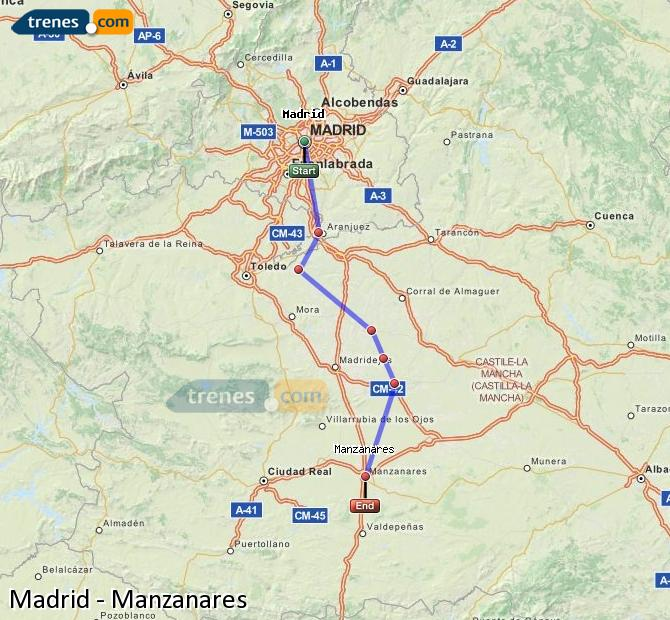 Enlarge map Trains Madrid to Manzanares