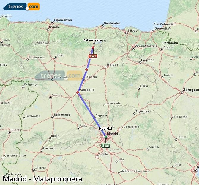 Enlarge map Trains Madrid to Mataporquera