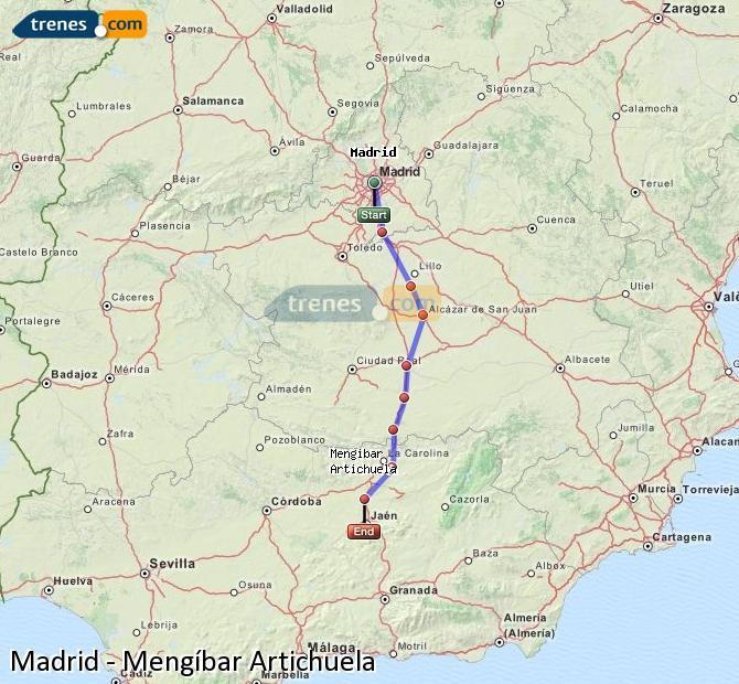 Karte vergrößern Züge Madrid Mengíbar Artichuela
