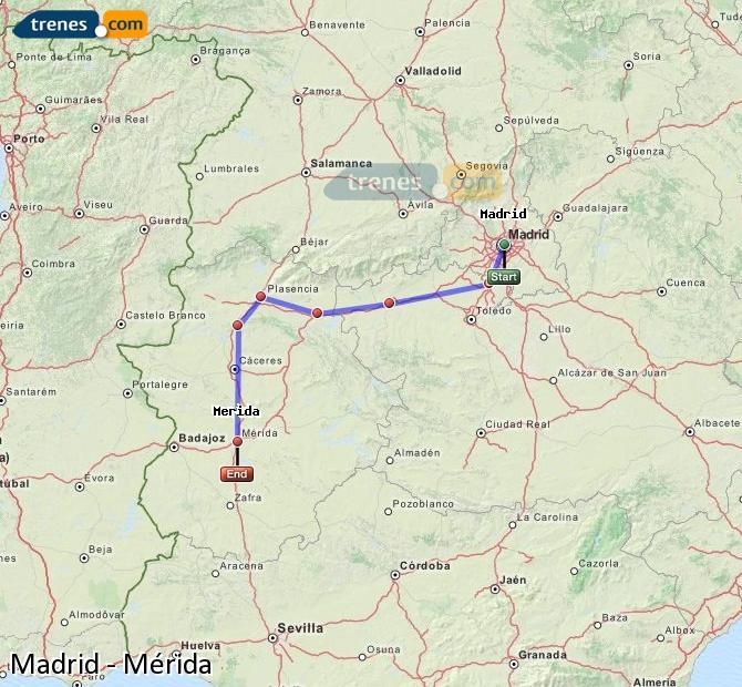 Ampliar mapa Trenes Madrid Mérida